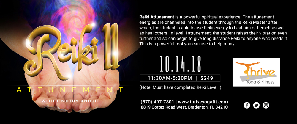 Reiki Level II workshop at Thrive Yoga and Fitness - 10.14.18
